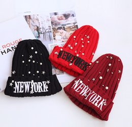 Wholesale Star Bead Caps - NY New York Pearl Star Rivet Beads Children Boys Girls Cute Hat Knitted Baby Thicken Knitting Caps Warm Accessories D6194