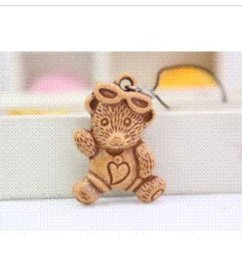 Wholesale Small Teddy Bears Keychain - 100 wholesale creative faux wooden keychain teddy bear key chain key ring mobile phone black rope chain small gift