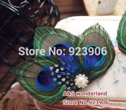 Wholesale Blue Peacock Combs - spot feather peacock hair clip comb Headpiece bride Fascinator Bridesmaids Fascinator hair piece