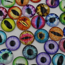 Wholesale Glass Eyes 16mm - Wholesale-16mm Mixed Style Dragon Eyes Round Glass Cabochon Dome Jewelry Finding Cameo Pendant Settings 50pcs lot (K02247)