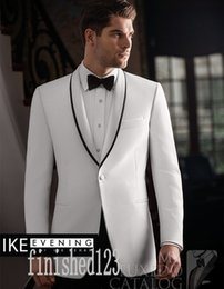 Wholesale white dinner jacket black shawl - Popular One Button White Groom Tuxedos Shawl Lapel Groomsmen Best Man Wedding Prom Dinner Suits (Jacket+Pants+Girdle+Tie) G5208