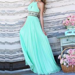 Wholesale Halterneck Prom Dress - Party Chiffon Dress New 2015 Sexy Women Backless Fashion Off Shoulder Halterneck Elegant Vestidos Maxi Long Prom Gown Dresses FG1511