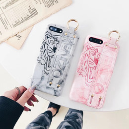 Wholesale Black Grips - for iphone X case Leather Cute Tiger Hand grip strap Marble soft tpu case for iPhone 7 8 6s 7 plus 6
