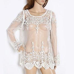Wholesale Womens Through - 2015 New Sexy Floral Lace Shirt Crochet Sleeve Embroidery See Through Sheer Blouse Womens Ladies Blouse Shirt White 2 Sizes