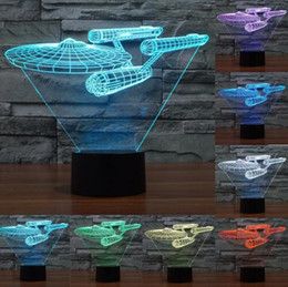 Wholesale Figure Star Trek - Creative 7 Color change 3d night light Trek battleship lamp colorful LED visual atmosphere deco lamp touch switch light