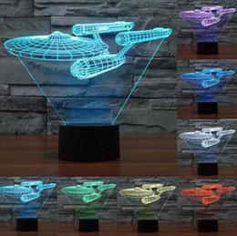 Wholesale Deco Heart - Creative 7 Color change 3d night light Trek battleship lamp colorful LED visual atmosphere deco lamp touch switch light