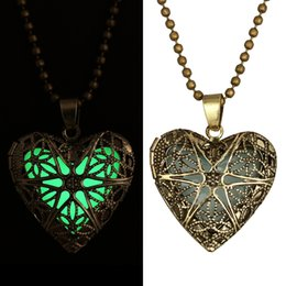 Wholesale vintage glass bead chain - Vintage Womens Luminous Beads Atlantis Necklace Hollow Out Heart Glowing Pendant Silver Plated Chain Statement Locket necklace can open