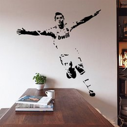 Wholesale Football Room Designs - New Vinyl Removable PVC Art Mural Football Cristiano Ronaldo Wall Stickers For Kids Children Room Decor