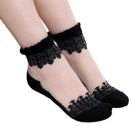 Wholesale lace socks wholesale - 2017 Fashion Ultrathin Transparent Women Socks Beautiful Crystal Lace Elastic Short Socks Black White 20 pairs lot