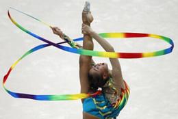 Cinta de gimnasia palos online-Cintas de gimnasia rítmica varitas deportivas cintas de baile streamers sticks magic wands confetti Sporting Goods