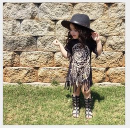 Wholesale Summer Kids Dress Fashion - 2016 Summer Baby Girls Tassels Dress Kids Short Sleeve Dresses Children Clothing Fashion Girl Dress 80-120CM 5pcs lot