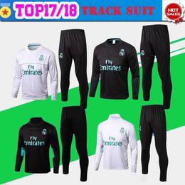 Wholesale Men S Home Pants - Real Madrid away black Training suit kit long sleeve 2017 18 Real Madrid home white Training uniform 2017 football uniform +pants Sales