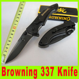 Wholesale Browning 337 Survival Knife - Browning 337 Black Blade pocket Folding hunting Camping survival knives utility hiking pocket knives gift Knife 512X