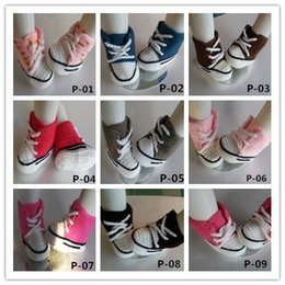 Wholesale Cheapest For Shoes - 2016 Baby crochet sneakers shoes shoe booties,20 colors Handmade crochet cheapest sneaker shoe sandals prewalker for toddlers kids babies