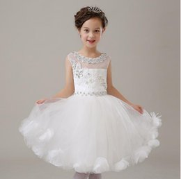 Wholesale Small Nail Bows - The latest high quality small round collar tulle flower girl dress applique crystal nail bead and knee fashion flower girl dress