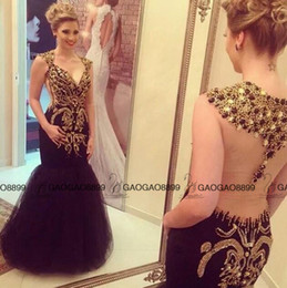 Wholesale Evening Detailing - 2016 New Hot Black Long Mermaid Dresses Party Evening Wear Luxury Sparkly Crystal Beaded Detail V-neck Arabic Prom Pageant Formal Dresses