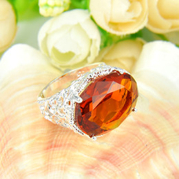 Wholesale Fire Citrine - Half Dozen 6 Pieces 1 lot Classic Jewelry Fire Oval Brazil Citrine Crystal Gems Russia 925 Sterling Silver Plated USA Weddiing Party Ring