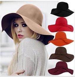 Wholesale Vogue Tie - Autumn Winter Big Brim hats Ladies Women Vintage Fedora Beach Sun Hats women Large Brim Hat Vogue women sunhats New women beach hats 10pcs
