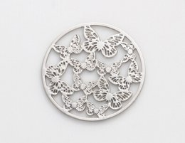 Wholesale Hollow Butterfly Charms - 20PCS lot 22MM Silver Butterfly Round Hollow Floating Window Plates Fit For 30mm Magnetic Glass Memory Locket