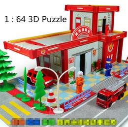 Wholesale 3d City Puzzles - Wholesale-Free shipping ! 1 : 64 3D Puzzle Puzzle City Fire Department alloy car toy cars for children, Children's educational toys