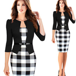 Wholesale Office Fashion Outfit - New Fashion 2015 Autumn Style Women Faux Two Piece Dress Elegant Plaid Long Sleeve Pencil Dresses Office Wear Women Work Outfits
