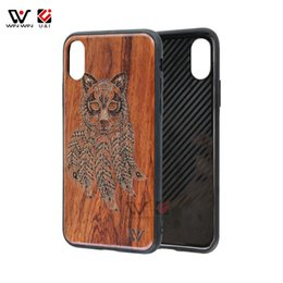 Wholesale Mobile Phone Case Dogs - Animal Patterned For iPhone X 10 8 8+ 7 7+ Wood Cell Phone Mobile Dog Cat Case Full Cover Body TPU Protection Shockproof