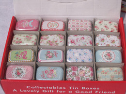 Wholesale Square Tin Boxes - Free shipping flower pattern small boxes Tin pure color boxes Sweet box wedding candy box wedding favors mini case