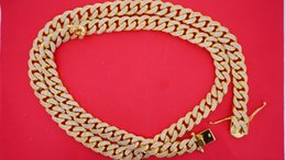 Wholesale 24 Solid Gold Chains - 300 Grams Solid Yellow Gold Miami Cuban Link Chain 12 MM 24 Carats Real Diamond
