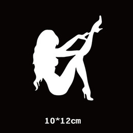 Wholesale Sexy Cartoon Girls - JLEC 2pcs 10*12cm Car Styling Hot Sexy Girl High Heels Stickers Car Stickers Girl Window Car Body Decal Stickers Motorcycle Decorations