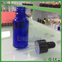 Wholesale Essentials Oil Bottles - 600pcs Glass Dropper Bottles 30ml 5ml 10ml 15ml 50ml E-liquid Ejuice Bottles Essential Oil Glass Blue Bottle With Childproof Rubber Cap