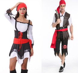 Wholesale Girls Fancy Party Dresses - Couples Pirate Family Pack Fancy Pirate Clothes Pirate Vixen Girl Costume New Fashion Halloween Party Dress