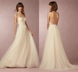 Wholesale Sexy Beach Tops - 2017 Beach Wedding Dress BHLDN Sexy Spaghetti Strap Sleeveless Appliques Lace On Top A-Line Wedding Gowns Custom Made