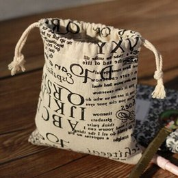 "Wholesale Newspaper Gift Bags - Vintage Word Newspaper Linen Gift Bag 9x12cm (3.5""x4.75"") pack of 100 Birthday Party Wedding Favor Holder Makeup Jewelry Pouch"