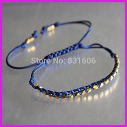 Wholesale Power Bracelet Price - Wholesale-10pcs lot Wholesale Price Deep Blue Bracelet Faceted 3mm Nugget Tinny Gold Beads,Charm Macrame Bracelet Power Bracelet For Lover