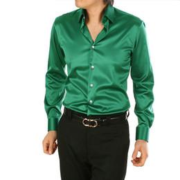 Wholesale Silk Dress Xxl - 2016 Men's dress Popular lapel long-sleeved shirt Men's long sleeve wedding the groom wedding shirt best selling
