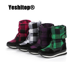 Wholesale Waterproof Wedge Winter Boots Women - Wholesale- EUR35-39 Warm Waterproof Classic Plaid Women Winter Boots with Thickened Anti-Slip Sole Snow Boots