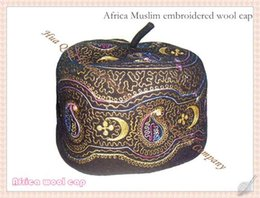 Wholesale Muslim Fashion Men - 2016 fashion style hot selling! 1PCS LOT high quality Africa Muslim embroidered wool cap Handmade embroidery Boutique cap HQ029