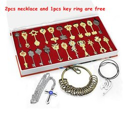 Wholesale Lucy Cosplay - 22pcs set Fairy Tail Key Pendats Sets Lucy Cosplay Keychain Zodiac Gold Key Pendants Pendant Charms Fashion Necklace Costume Jewelry 1042