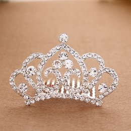 Wholesale Hair Insert Comb - New Girl Shining Diamond Princess Headwear Crown Hair comb hoop inserted comb type Girls' Head Pieces Alloy crown Girl Small Christmas Gift