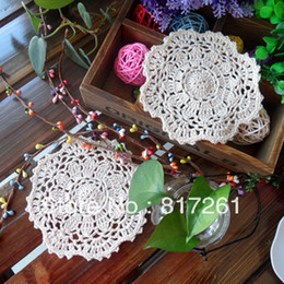 Wholesale Knitting Doily - Free shipping European 20 beautiful design crochet tea port mat rustic knitted plate placemat fashion doily heat pad 14cm book