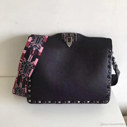Wholesale Ladys Leather Shoulder Bag - New Women Plaid Shoulder Bags Chain Crossbody Handbags Hasp Casual real Leather Fashion Ladys Rivets rolling Messenger Bag High Quality