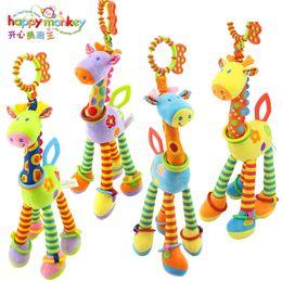 Wholesale Monkey Plastic Toys - 2017 happy monkey Plush Infant Baby Development Soft Giraffe Animal Handbells Rattles Handle Toys Hot Selling WIth Teether Baby Toy
