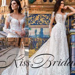 Wholesale France T Shirt - Vintage Full Lace 2018 Wedding Dresses Arabic Dubai Long Sleeves A Line Formal Bridal Gowns France Lace Modest Dress For Wedding
