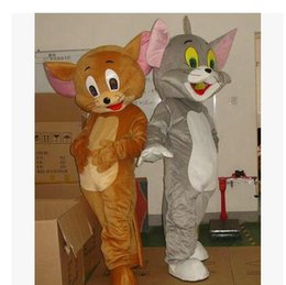 Wholesale Tom Jerry Outfits - Tom Cat and Jerry Mouse Mascot Fancy Dress Outfit Chirstmas Adult Size Cartoon Costume