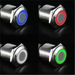 Wholesale Push Button Led Metal - 12V 16mm Car Boat DIY Push Power Button LED Angel Eye Style Switch Latching Metal Switch