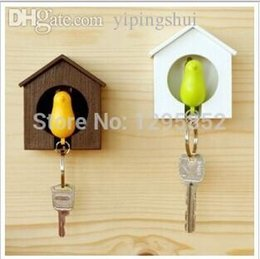 Wholesale Key Ring Holders For Wall - Wholesale-Key chains Fashion Brand Sparrow Birdhouse Key Ring Home Wall Hook Bird Nest Holder Plastic Animal Metal Chain For Lover Gift