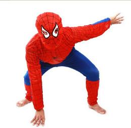Wholesale Men Halloween Clothes - 10 PCS Halloween Children's clothing,Kids Halloween mascot spiderman costumes,children Spider-Man costume party