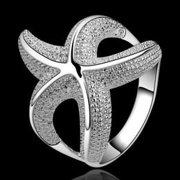 Wholesale Mix Design Fashion Rings Jewelry - factory price Beautiful Senior Brand Design 925 sterling Silver fashion charm Starfish Beautiful Cute lovely ring jewelry best sale