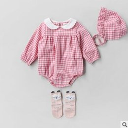 Wholesale Girl Doll Hats - Toddler kids rompers 2018 new Spring Baby girls cotton plaid long sleeve jumpsuit Infant doll lapel romper with plaid hat Baby clothes C2482
