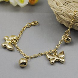 Wholesale Bow Bracelets Chain - 316L Stainless Steel Charming Pendant Bells Bow Bracelets Links Chains 23cm Women's Jewellery Free Shipping